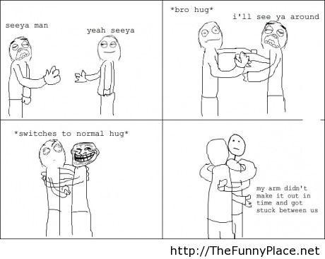 Awkward hug moment