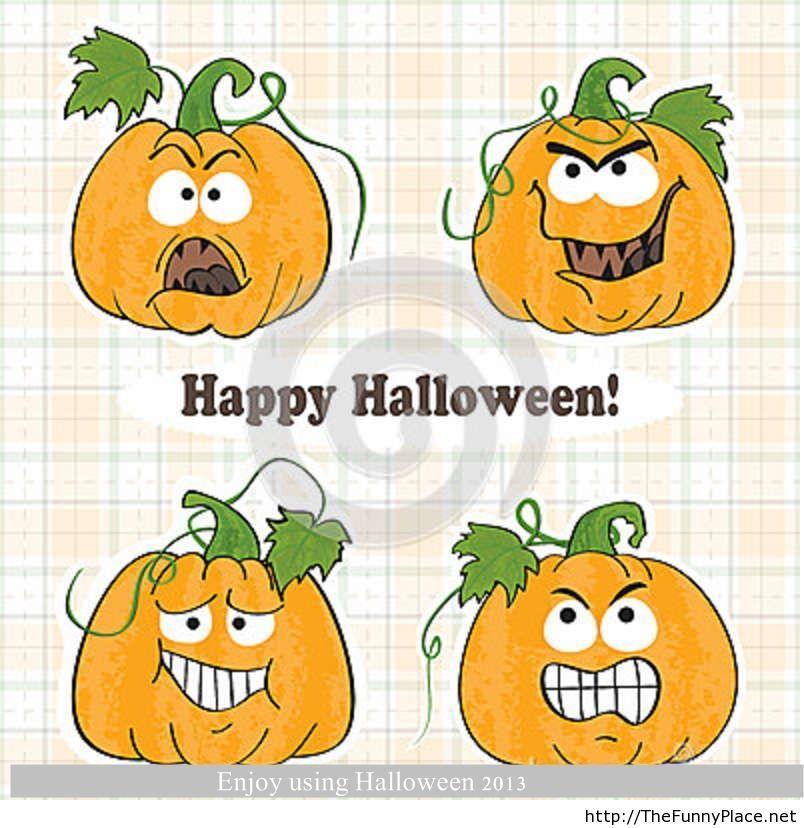 Funny Happy Halloween with pumpkins