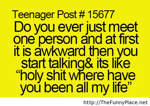 Teenager saying