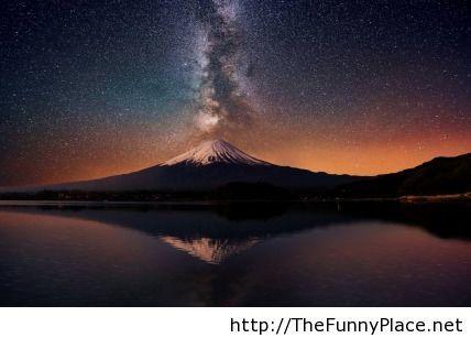 The milky way over mount Fuji in Japan