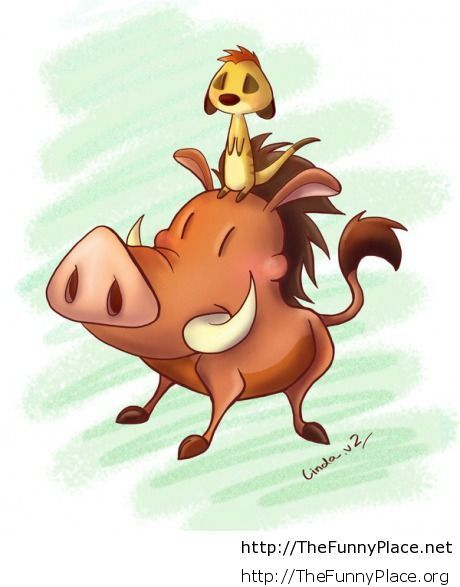 Timon and Pumba drawing is cute