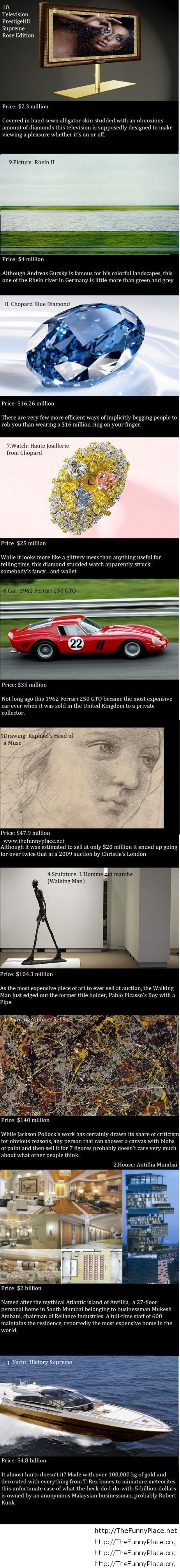 Top 10 most expensive things in the entire world