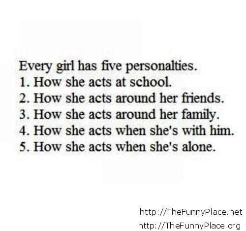 About girls personalties, so true!