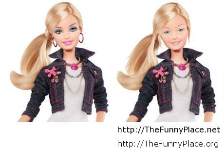 Barbie with makeup and without makeup