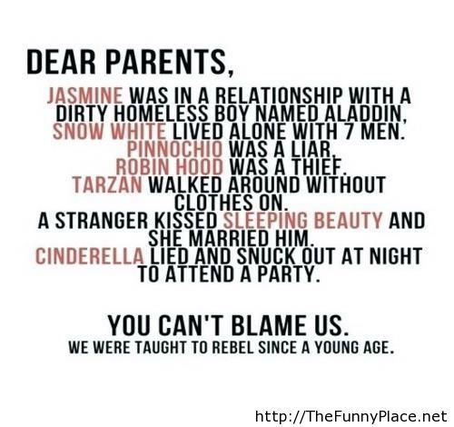Dear parents, from the teenagers