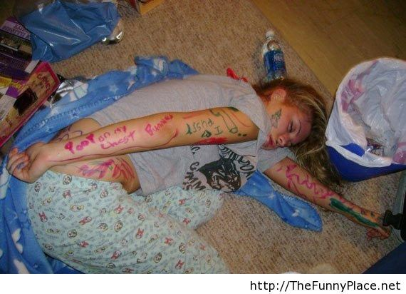 Drunk girl sleeping
