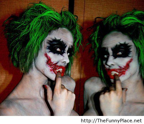 Funny halloween twins makeup