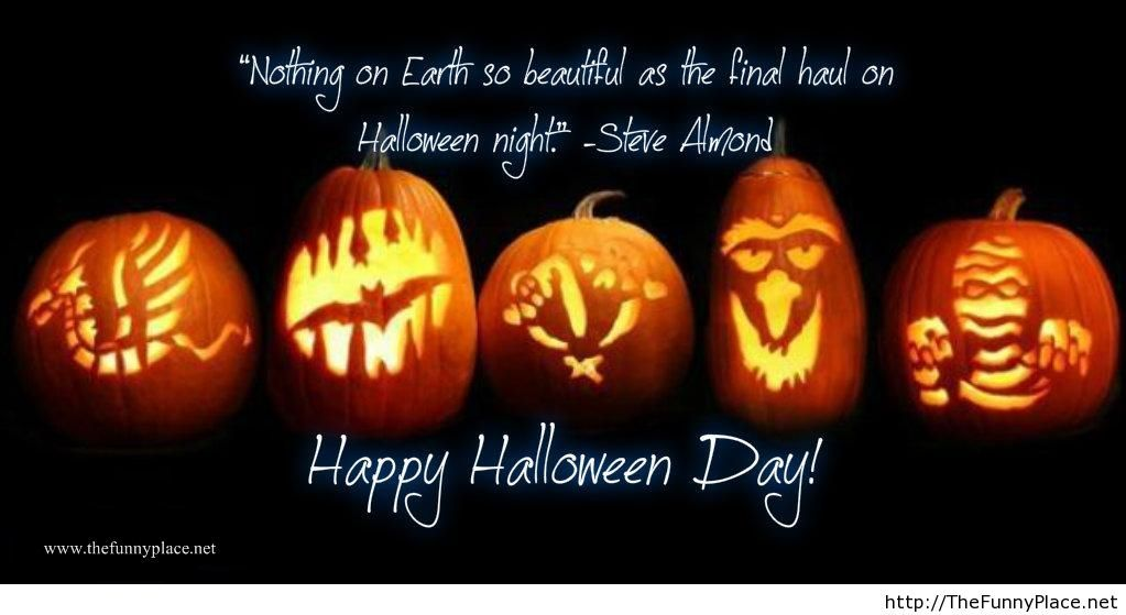 Halloween night quote with pumpkins on wallpaper – TheFunnyPlace