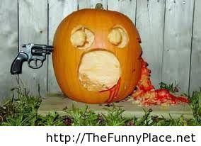 Halloween pranks with pumpkin
