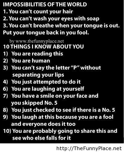 Impossibilities of the world funny