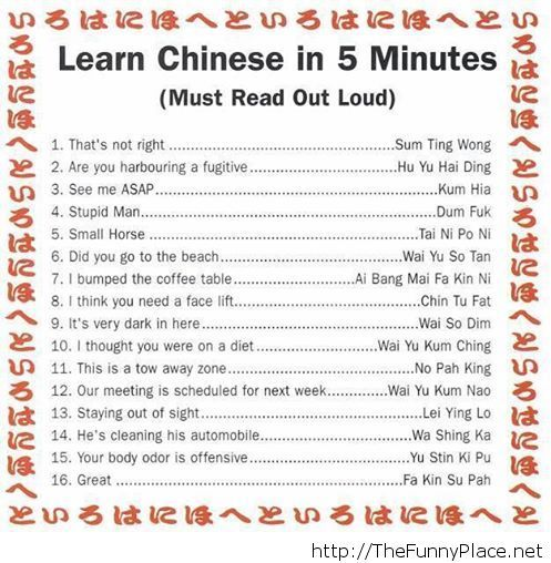 Learn chinese in five minutes