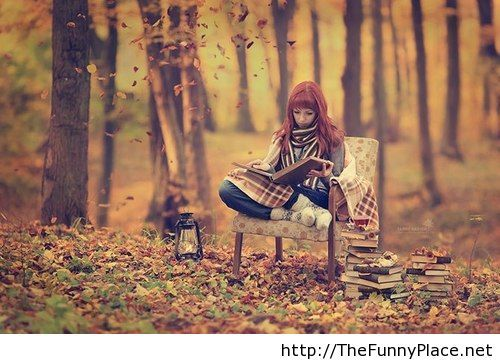 October cute image with a girl