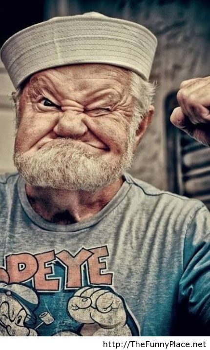 Old man real Popeye funny image