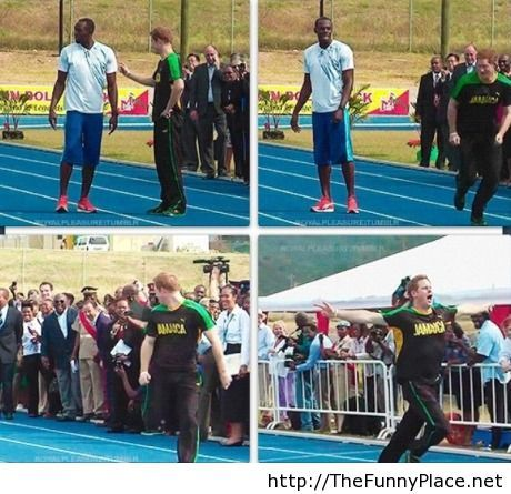 Prince Harry funny moment with Usain Bolt