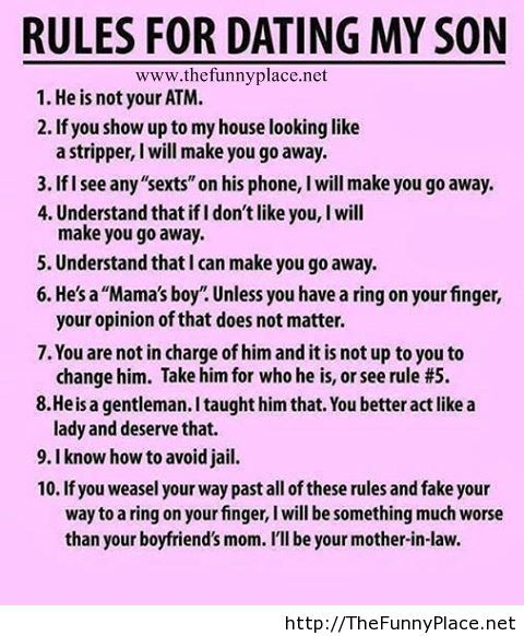 Rules for dating my son funny