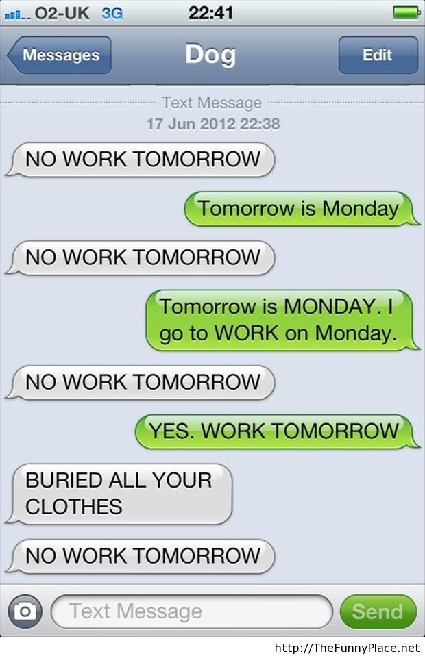 Tomorrow is monday funny conversation