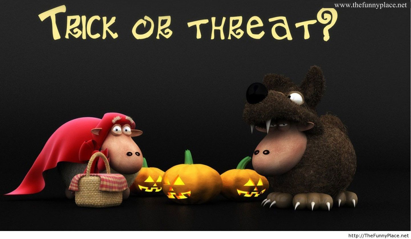 Trick Or Threat Halloween Funny Wallpaper 2013