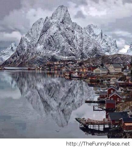 Amazing winter picture in Lofoten Islands, Norway