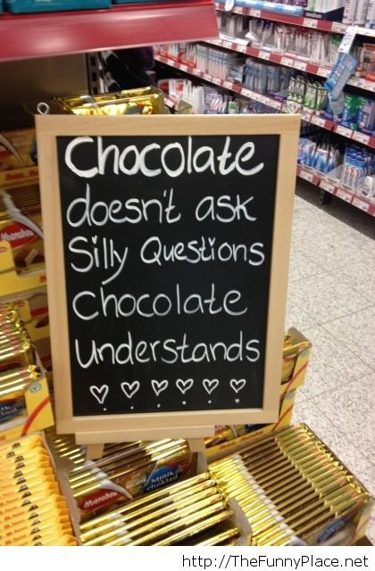 Found this chocolate message today at the supermarket