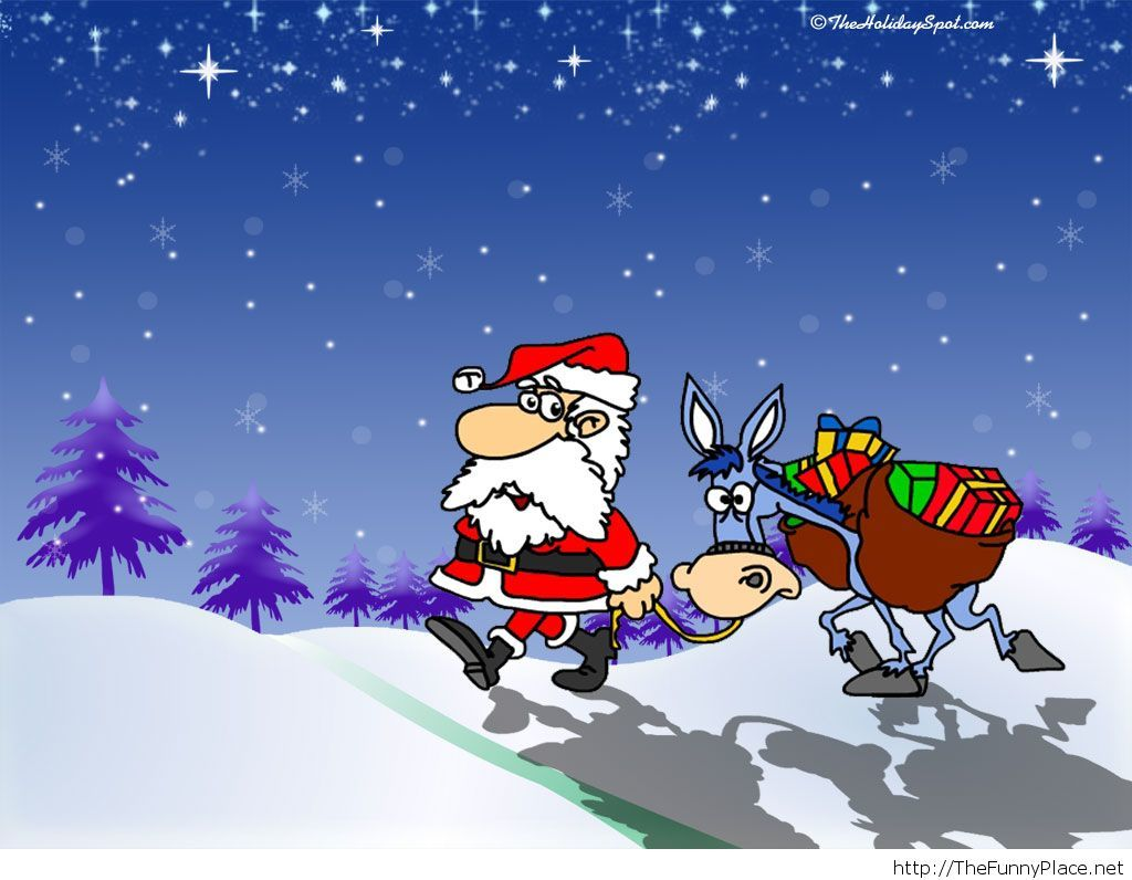 Funny Santa Claus, wallpaper for Christmas
