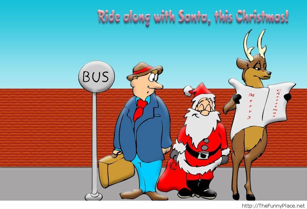 Funny christmas image with santa