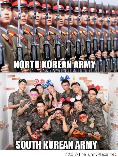 North vs south korean army