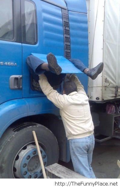 Truck driver birth image, so funny