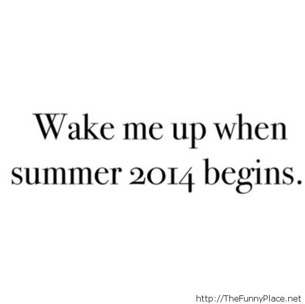 Wake me up when summer 2014 begins