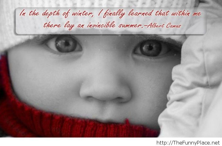 Winter quote with baby image