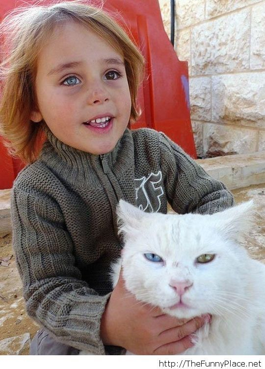Afghanistan girl and her cat