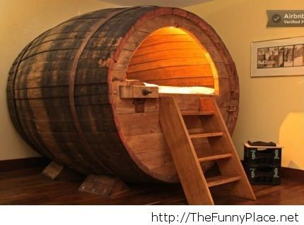 Beer barrel bed in Germany