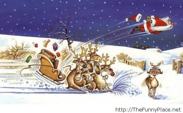 Christmas card santa cartoon
