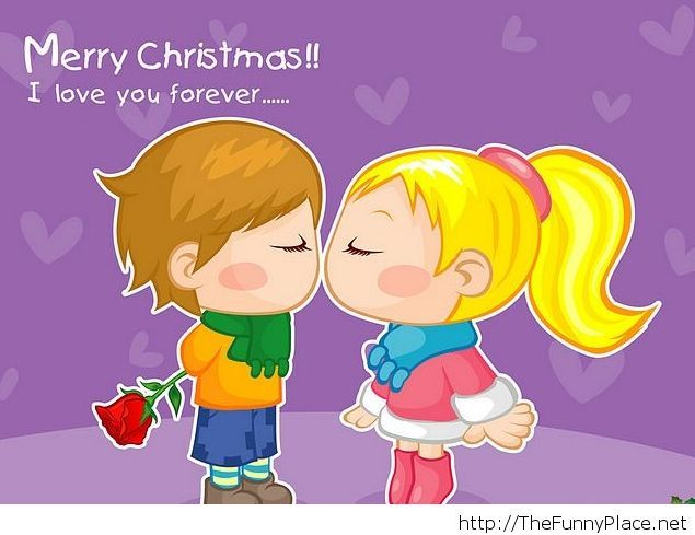 Christmas couple cartoon with love