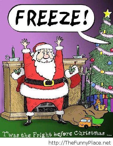 Funny cartoon image with Santa Claus