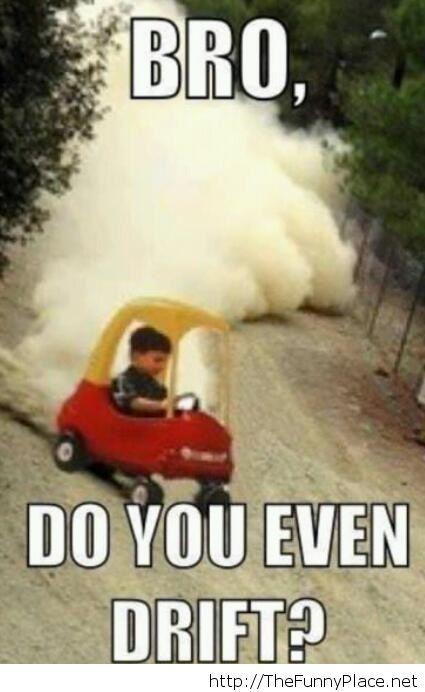 Funny kid drifting
