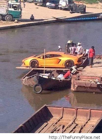 Lamborghini Aventador across a river