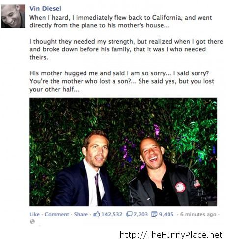 Vin Diesel on Paul Walker