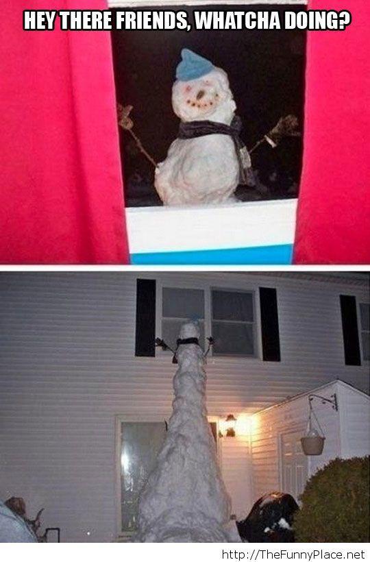 Funny tall snowman