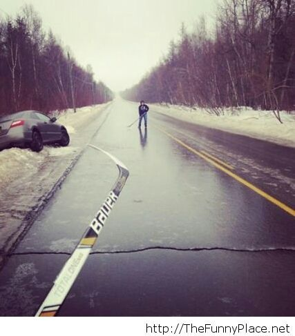 Icy roads perfect for hockey Funny