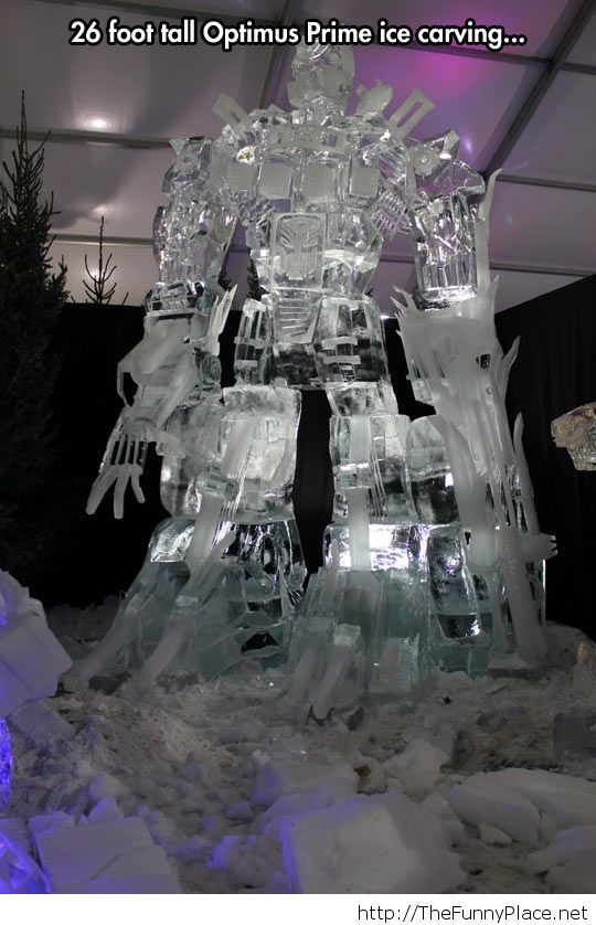 Optimus Prime ice carving