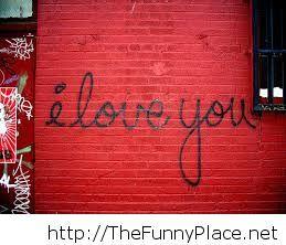 I love you writing on a wall