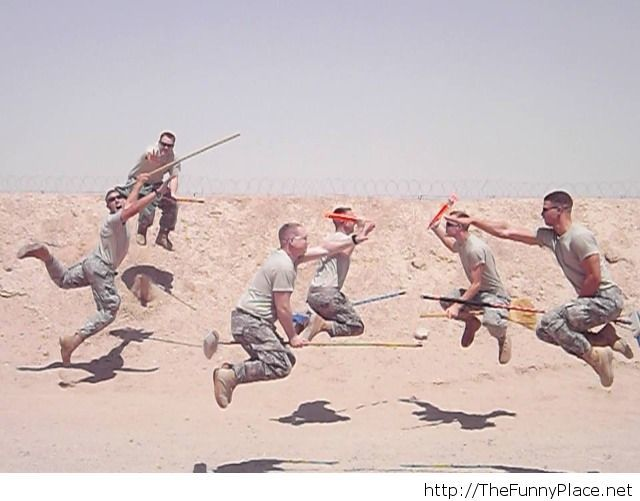Soldiers training for Hogwarts