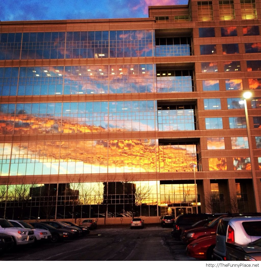 Sunrise reflected in the building