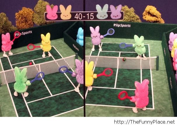 Tennis game with Easter bunnies