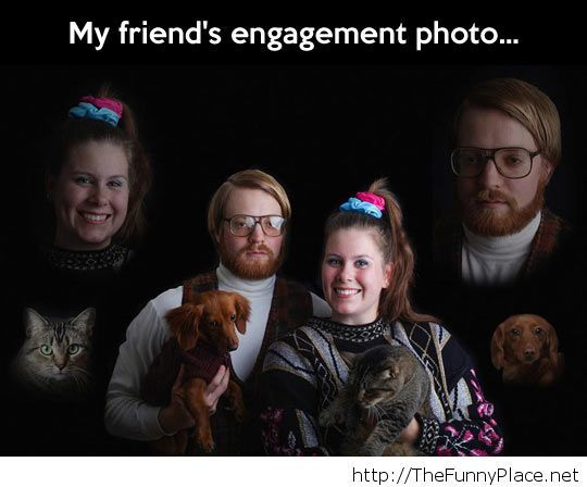 Comic engagement photo…