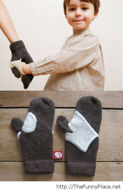Hand-holding mittens