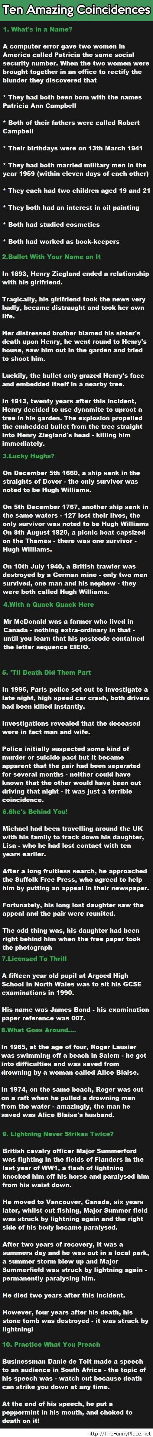 Amazing coincidences