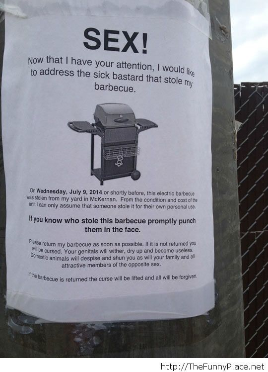 Barbecue Thief Will Pay For It Today
