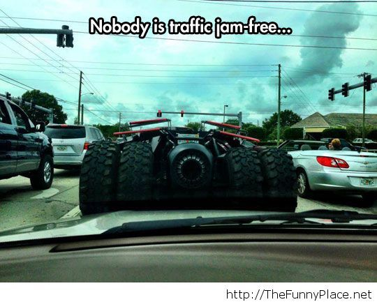 Even Batman is stuck in traffic
