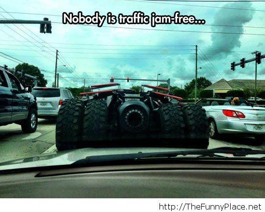 Even Batman is stuck in traffic